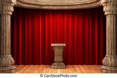 red velvet curtains, wood columns and Pedestal made in 3d