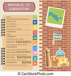 Uzbekistan infographics, statistical data, sights Vector...