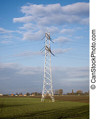 electricity transportation tower - Traditional pole and...