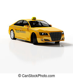Yellow Taxi - Yellow Taxi car 3d rendering