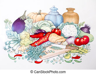 Kitchen Garden Vegetables - A set of vegetables in the...