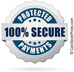Secure protected payments icon on white background