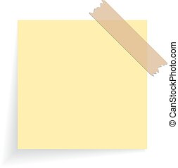Square yellow sticker on white background