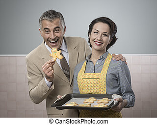 Old timey woman serving home made cookies - Vintage woman...