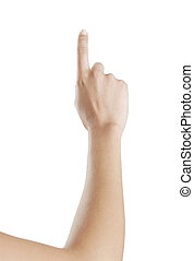 Forefinger upwards - woman hand pointing with his index...