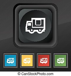 Delivery truck  icon symbol. Set of five colorful, stylish buttons on black texture for your design. Vector