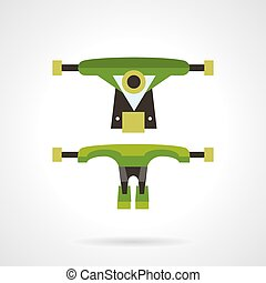 Longboard suspension flat vector icon - Flat color design...
