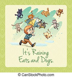 It's raining cats and dogs idiom illustration