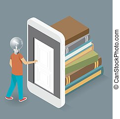 Vector 3d Flat Isometric With Education Concept - Knowledge...