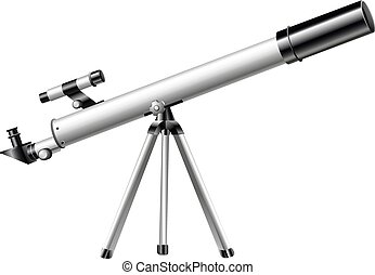 White telescope on tripod illustration