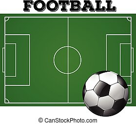 Football soccer field with ball