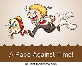 Man racing against clock
