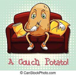 Couch potato idiom concept