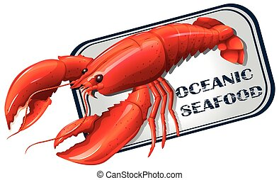 Lobster seafood can concept illustration