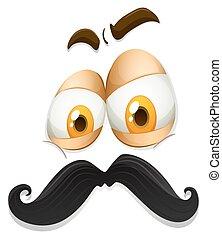facial, expresión, con, bigote,