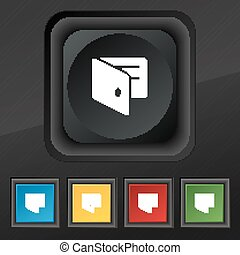 eWallet, Electronic wallet, Business Card Holder  icon symbol. Set of five colorful, stylish buttons on black texture for your design. Vector