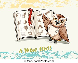 Owl reading a book illustration