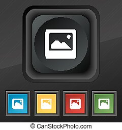 Photo frame template  icon symbol. Set of five colorful, stylish buttons on black texture for your design. Vector