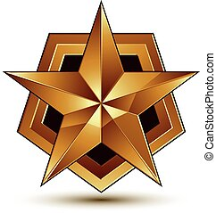 Vector glorious glossy design element, luxury 3d golden star, conceptual graphic template, clear EPS 8.