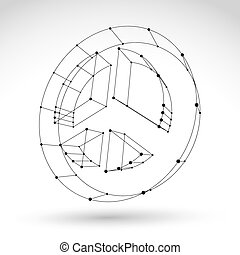 3d mesh monochrome web peace icon isolated on white background, black and white peace symbol from 60s, dimensional tech circle hippy object, clear eps 8 vector illustration.