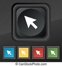 arrow cursor, computer mouse icon symbol. Set of five colorful, stylish buttons on black texture for your design. Vector