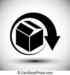 Gift delivery conceptual icon, simple single color new idea...