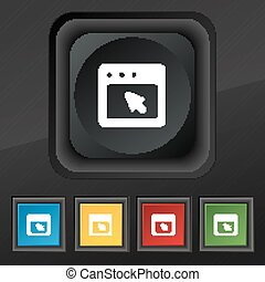 the dialog box icon symbol. Set of five colorful, stylish buttons on black texture for your design. Vector