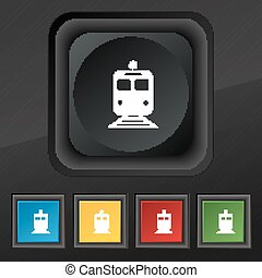 train icon symbol. Set of five colorful, stylish buttons on...