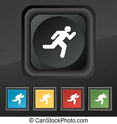 running man icon symbol. Set of five colorful, stylish buttons on black texture for your design. Vector