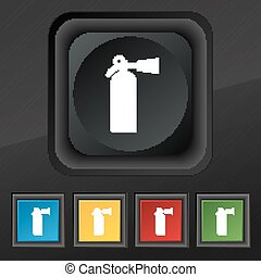 extinguisher icon symbol. Set of five colorful, stylish buttons on black texture for your design. Vector