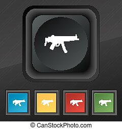 machine gun icon symbol Set of five colorful, stylish...