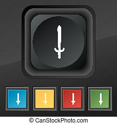 the sword icon symbol Set of five colorful, stylish buttons...