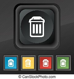 the trash icon symbol. Set of five colorful, stylish buttons on black texture for your design. Vector