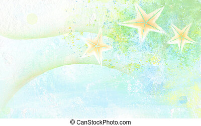 watercolor painting of seastar - a beautiful colourful...