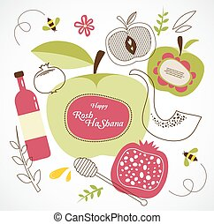 rosh hashanah-jewish holiday traditional holiday symbols...