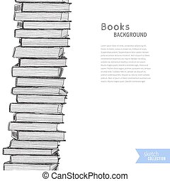 Books sketch background - Pile of books on white background....