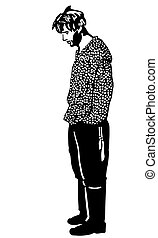 sketch of an unshaven man standing - black and white vector...
