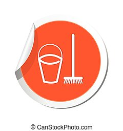 Bucket and mop for cleaning icon