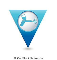 Map pointer with spray gun icon - Blue triangular map...