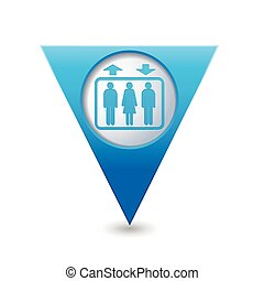 Map pointer with elevator icon - Blue triangular map pointer...