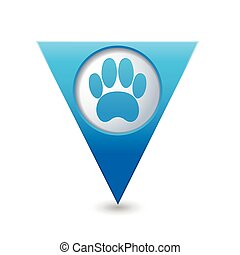 Blue map pointer with pet paw icon.