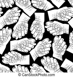 Fig fico hands seamless pattern, black and white vector...