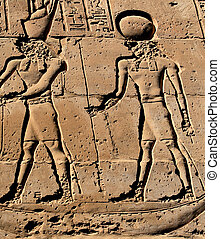 Pharaoh and god hieroglyph, Edfu Temple, Egypt