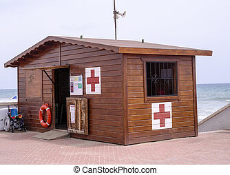 red cross first aid post on Spanish beach