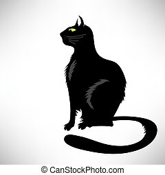 Black Cat Silhouette Isolated on White Background Symbol of...