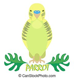 Parrot isolated front view on white. Green bird with jungle...