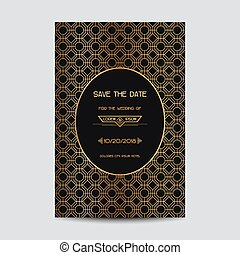 Save the Date - Wedding Invitation Card - Art Deco Vintage...