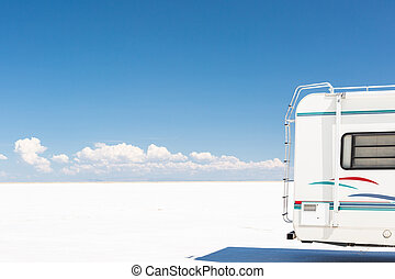 Bonneville Salt Flats - Driving motorhome on Bonneville Salt...