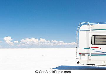 Bonneville Salt Flats - Driving motorhome on Bonneville Salt...