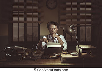 1950s journalist in his office late at night - Confident...